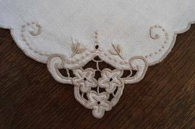 Vintage Madeira Linen Placemat Napkin Set Taupe Embroidered Floral Cutwork