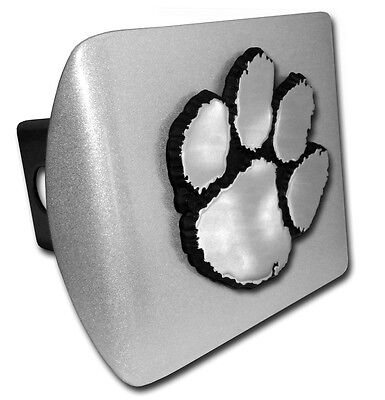 clemson paw logo metal chrome trailer hitch cover made in usa