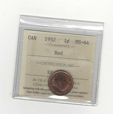 **1952**ICCS Graded Canadian Small One Cent, **MS-64**