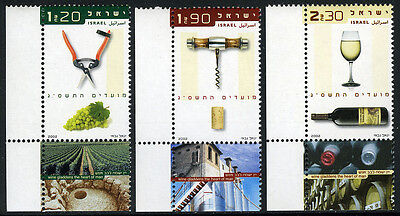 Israel 1486-1488 tabs, MNH.Wine.Clippers,grapes;Corkscrew,cork;Glass,bottle,2002