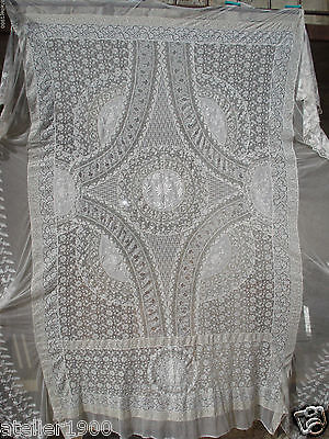 antique french hand embroidered normandy lace bed spread