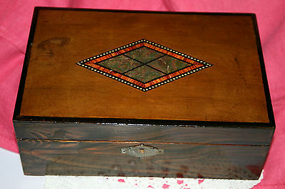 Antique Vintage Solid Wood Faux Inlaid Box Jewellery Sewing Wooden Hinged Boxes