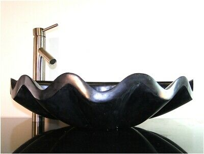 Bathroom Counter Top Black Marble Sea Shell Basin Vessel Sink
