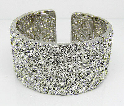 Statement Clear Crystal Cuff Bracelet Bangle Bride Prom Marcasite Jewellery Gift