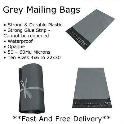 Grey Mailing Bags Small Medium Large Strong Seal Waterproof Post Parcel Packing