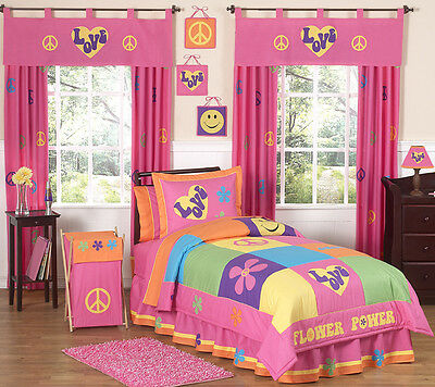 Pink Groovy Peace Sign Kids Twin Size Bed Bedding Comforter Set for Girl Bedroom