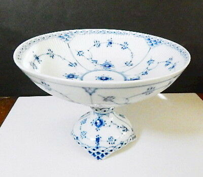 Royal Copenhagen BLUE FLUTED HALF LACE #513 Footed Cake Plate/Compote
