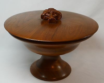 Walnut Pedestal Covered Bowl Compote Dish w/Tree Decoration