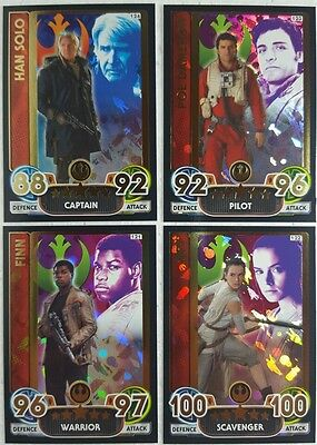 Force Attax Extra RARE STAR WARS HOLOGRAPHIC FOIL Card Set of 8 FORCE AWAKENS