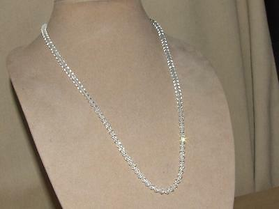 VTG 80s Diamond Shape Clear Cut Crystal Necklace on Chain Rhinestone Clasp 24""