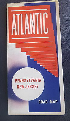 1941 Pennsylvania New Jersey road map Atlantic  oil gas