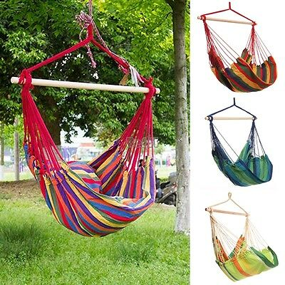 Garden Patio Porch Hanging Rope Swing Chair Seat Hammock Bench Swinging Cushione