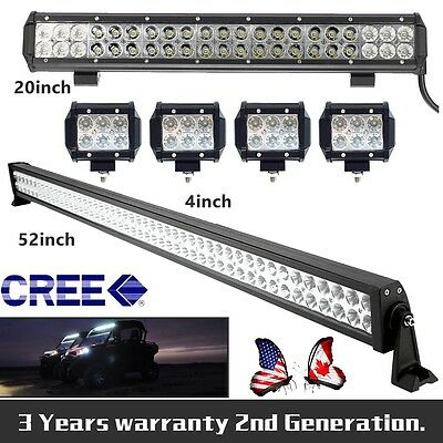 """52inch LED Light Bar + 20"""" + 4X 4"""" CREE Work Boat Offroad SUV ATV Truck Jeep 4WD"""