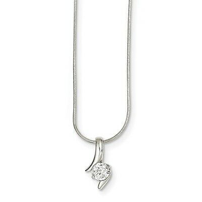 "Women's Ladies .925 Sterling Silver Solid CZ Fancy Pendant w/ 18"" Chain Necklace"