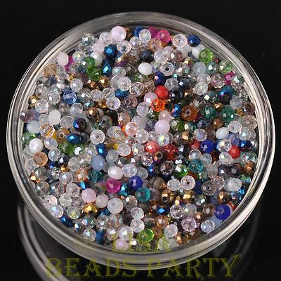 New 100pcs 4X3mm Crystal Glass Rondelle Faceted Loose Beads Random Mixed