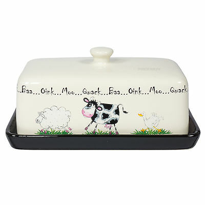 Butter Dish with Lid Ceramic Cream & Black Serving Bowl Dining Table Home Farm