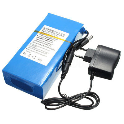 DC 12V 15000mAh Portable Super Li-ion Rechargeable Battery Pack + AC Charger