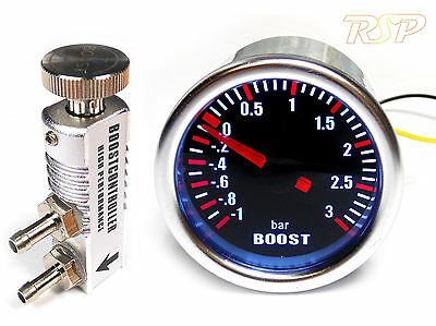 Universal 52mm Smoked Turbo Boost Gauge -1 to 3 Bar & Manual Boost Controller