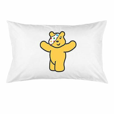 White Cotton Pudsey Bear BBC Children in Need Charity Printed Pillow Case
