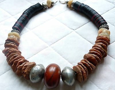 "African Amber Tribal Necklace - ancient ""pecked"" rock crystal and quartz beads"