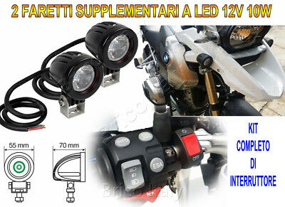 Faretti Supplementari LED 12V 10W 6000K Kit Completo per Moto Trail Nuovo New