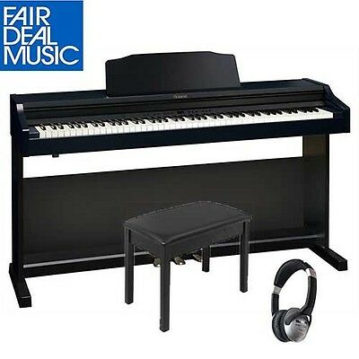 Roland Rp 401R-Cb Digital Piano Contemporary Black W/ Piano Bench And Headphones