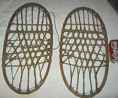 Antique Usa Fishing Cabin Primitive Wood Snowshoes Country Mountain Gun Tool Art