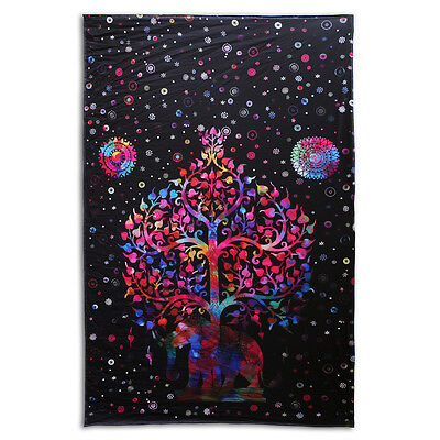 Indian Tapestry Wall Hanging Mandala Throw Elephant Tree Of Life Psychedelic Art