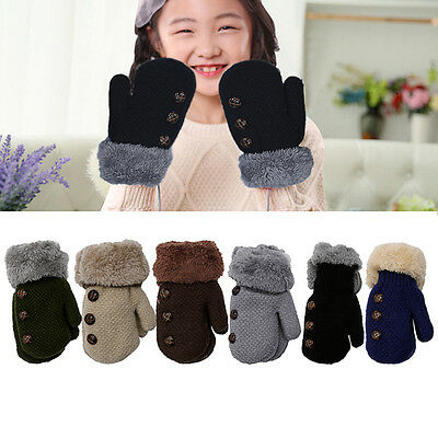 Kids Winter Warm Knitted Gloves Thick Glove With Neck String for 0-12 months Hot