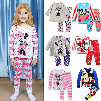 Baby Kids Girls Boys Mickey Minnie Nightwear Pajamas Pj's Set Outfits Sleepwear