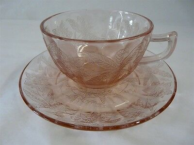 Jeannette Glass Co. Depression Glass Floral / Poinsettia Cup & Saucer