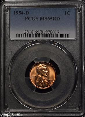 1954-D Lincoln Wheat Penny Cent 1c ~ PCGS MS65 RED ~ STUNNING!