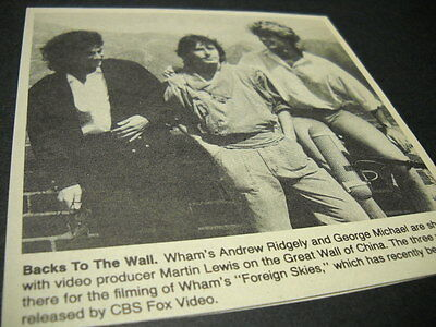 WHAM Andrew Ridgely & George Michael in China vintage music biz promo pic/text