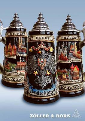 Black Deutschland Eagle City German Beer Stein .75L One New Mug Made in Germany