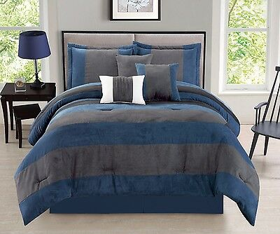 7 Piece Navy Blue Gray Micro Suede Patchwork Comforter Set King Size New