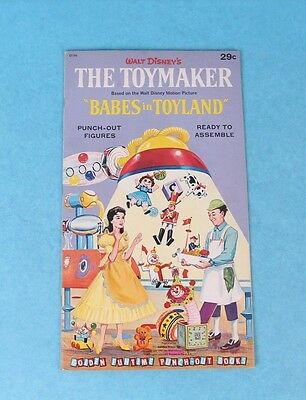 Vintage 1961 Walt Disney Babes In Toyland Punch-Out Children's Book Unused
