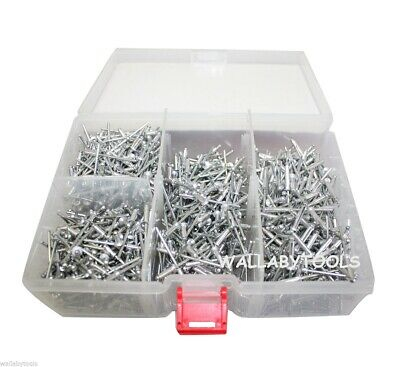 "1000pc Blind Aluminum 1/8"" Hand & Air Riveters Pop Rivet Assortment w/ Storage"