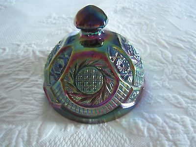 L E SMITH Pressed CARNIVAL GLASS Hobstar Pinwheel Pattern BUTTER DISH LID