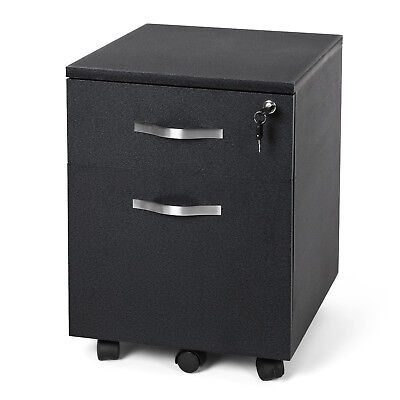 Songmics MDF Lockable Filing Pedestal File Cabinets Bedside Table Black LCD25B