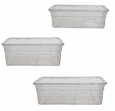 Whitefurze Clear Plastic Toy Home Office Tidy Storage Box Container with Lid