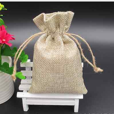 10x vintage Linen Drawstring Jewellery Gift Packaging Pouches Candy Bags 10*15cm
