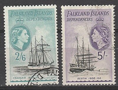Falkland Dependencies 1954 Qeii Ship 2/6 And 5/- Used