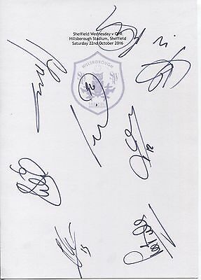 Two A4 white cards with the Sheffield Wednesday Badge. Signed by 8 players 10/16