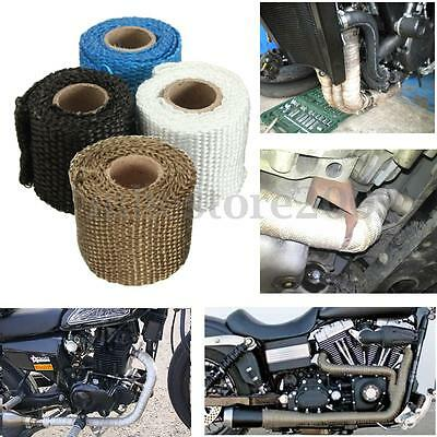 1m 2''Titanium Exhaust Insulator High Heat Header Wrap Pipe Tape Downpipe Fiber