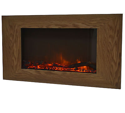 Charles Bentley Large Wall Mounted Fireplace Wooden Effect Electric Fire Heater