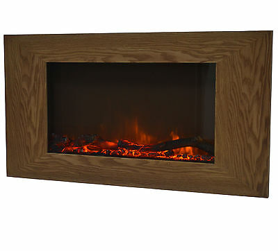 Charles Bentley Large Wall Mounted Wood Effect Electric Fire with Remote Control