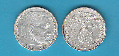 Germania 2 Marchi 1937 Zecca ( A ) Argento Silver diametro mm. 25 Germany FOTO