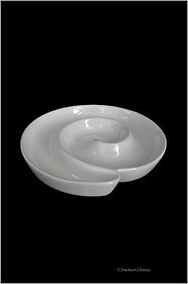 "7"" White Porcelain Round Appetizer Olive Plate Platter Dish Boat Dish"