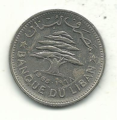 High Grade Au/unc 1968 Lebanon 50 Piastres Coin-Jun087