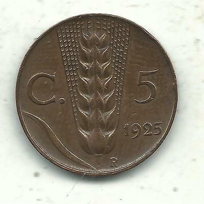 Vintage Very Nice High Grade 1925 R Italy 5 Centesimi Coin-Jul089